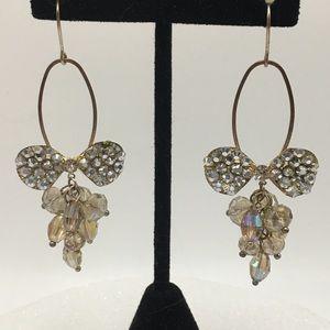 Vintage crystal earrings bow bling dangle drop